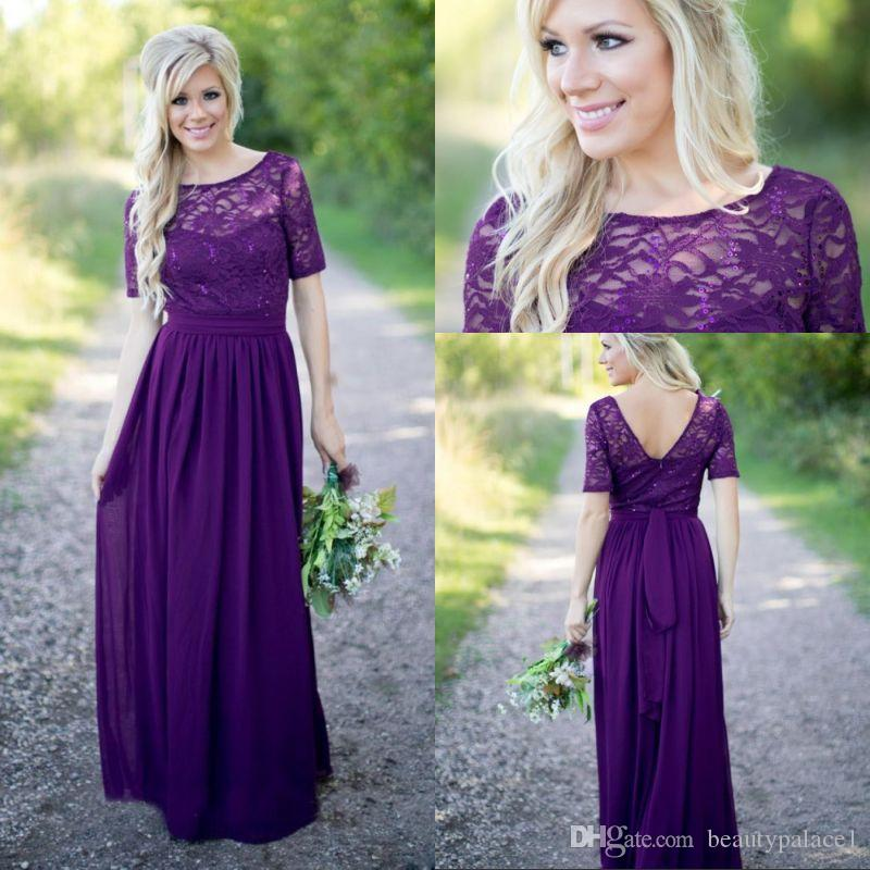 2.2017 Purple Bridesmaid Dresses Vintage Lace With Short Sleeves ...