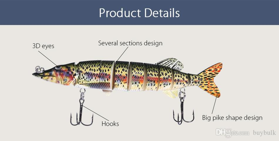 Pro beros Outdoor Artificial 9 Sections Big Pike Fishing Lure