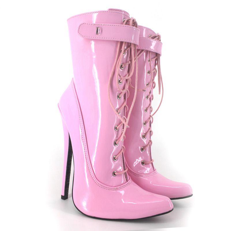 Мода женщины ботильоны зашнуровать дамы партия обувь на высоких каблуках плюс размер SM Королева сценическое супер высокие сапоги Сексуальная партия загрузки