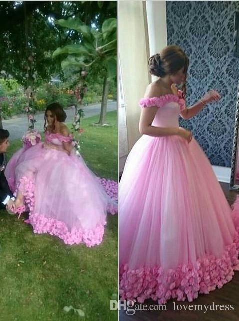Hot Pink Wedding Dress Off Shoulder Neck Ball Gown Hand Made Flowers ...