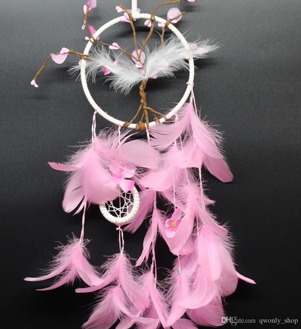Pink Flower Dreamcatcher Gift Peach Blossom Handmade Dream Catcher Net With Feathers Wall Hanging Decoration Ornament