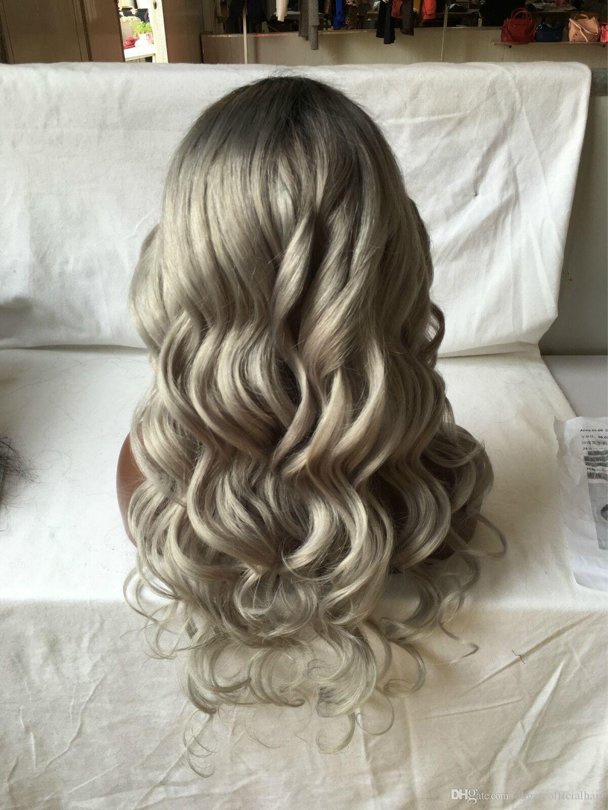 Wavy Sliver Grey Lace Front perruque de cheveux humains pleine perruque de lacet naturel humain argent gris sans colle pleine perruque de dentelle avec frange