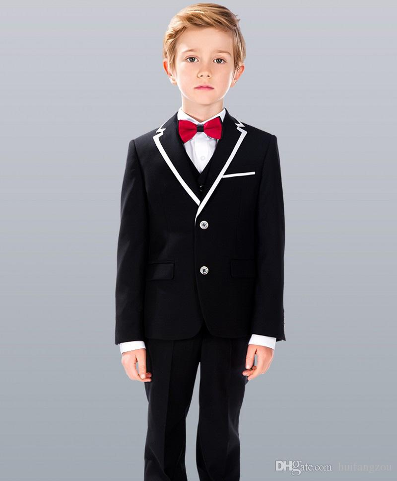 Handsome Three Pieces Of Boys Formal Wear With Jacket+Waistcoat+Pants Polyester Gentleman Preppy Style Kids Tuxedos Suits