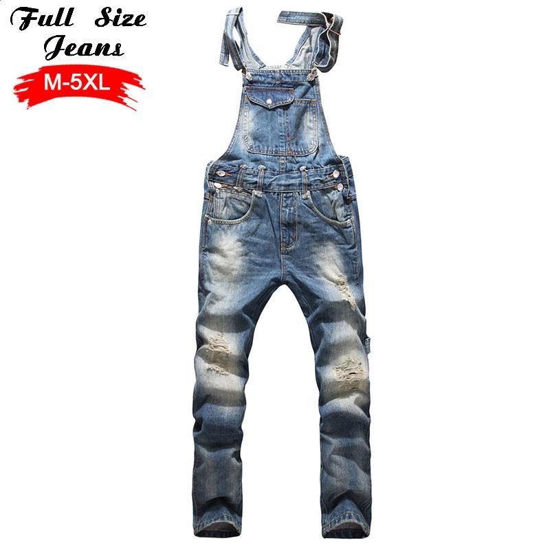 fcde15feed51 Wholesale- Men'S Plus Size Jeans Overalls Large Size Huge Denim Bib Pants  Fashion Pocket Jumpsuits Male 4Xl 5Xl 3Xl