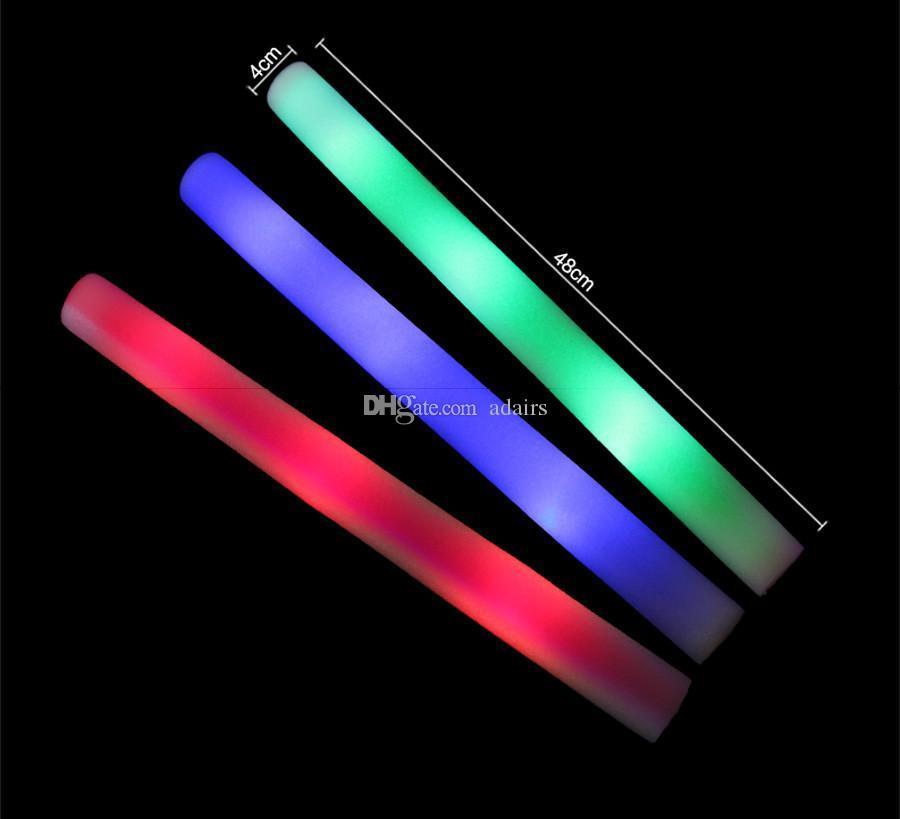 25 pçs / lote LED Espuma Vara Colorido Piscando Bastões 48 cm Vermelho Verde Azul Light-Up Vara Festival Festa Decoração Concert Prop Bar