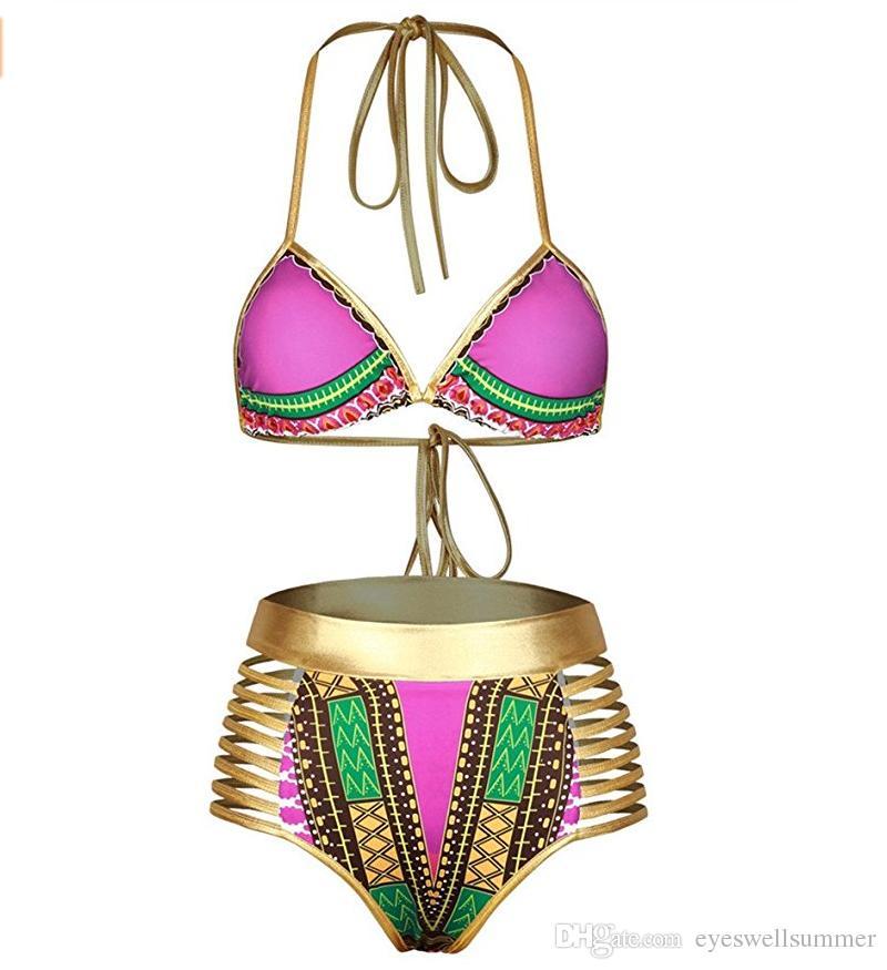 Sexy südafrikanischer goldener Halfterbikini hoher Taillenbadeanzug zwei Stücke Badebekleidungsfrauen Badeanzug Badegäste