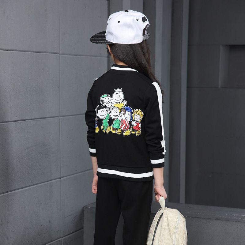 Boys Girls Spring Autumn Sportwear Kids Casual Cardigan Jacket+Long Pants Children's Sets Hip Hop Black Cartoon Tracksuits
