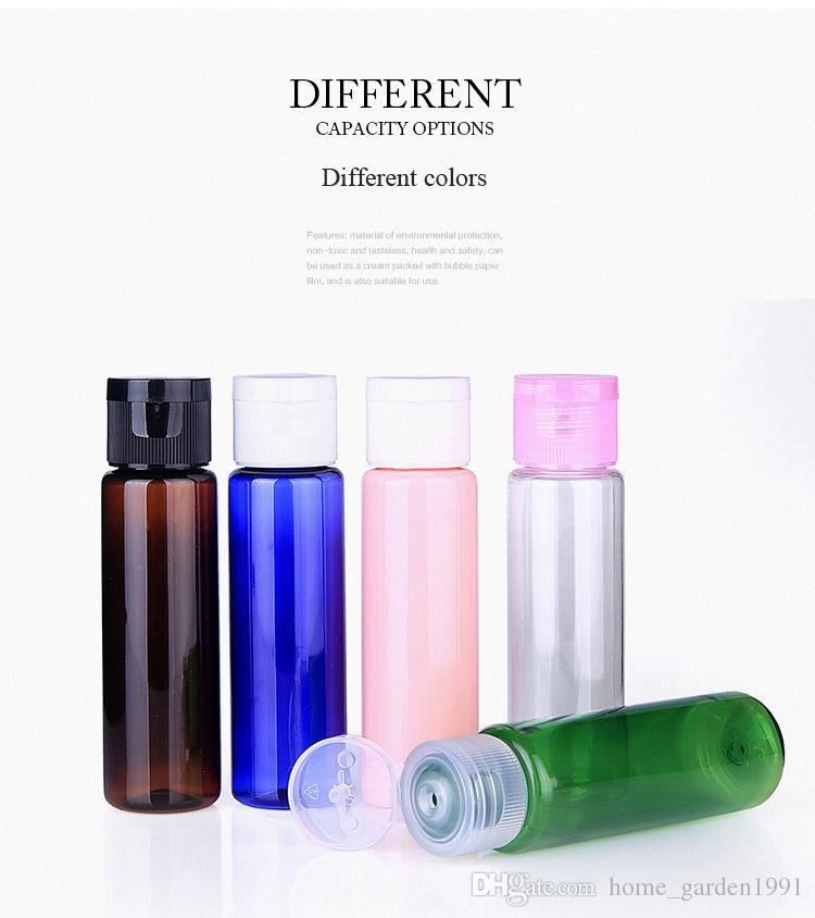 DHL FREE 30ml Mini-Kunststoff-Kosmetik leere Flasche mit Flip Cap Ätherisches Öl Cremefarben Beispiel Verpackungsbehälter Flaschen