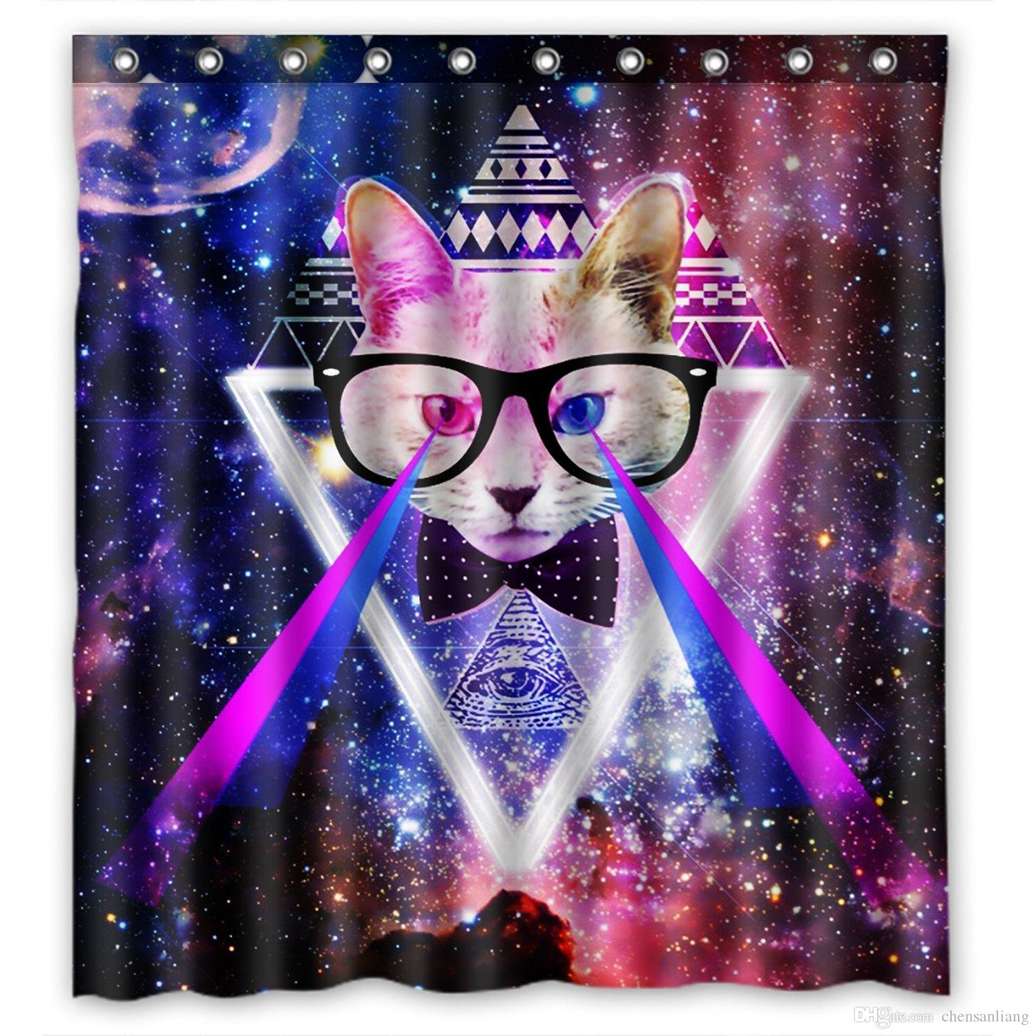 2018 Shower Curtain Galaxy Space Cat Laser Bathroom Polyester Curtains Waterproof Antibacterial With 12 Hooks Bath From Chensanliang