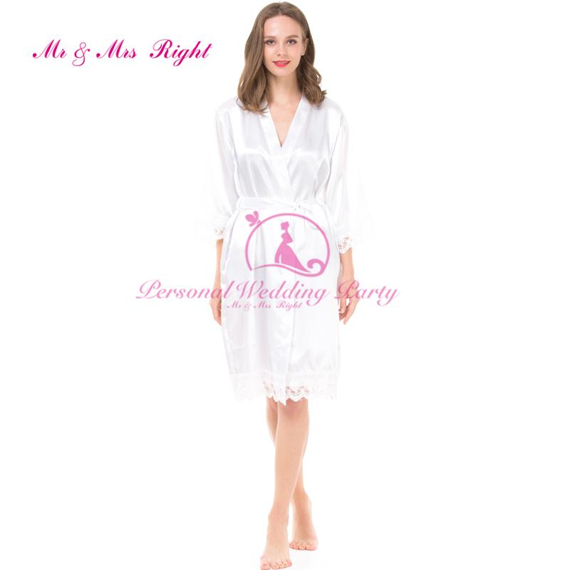 2018 Wholesale Diy Words Bride Personalized Satin Robes Solid ...
