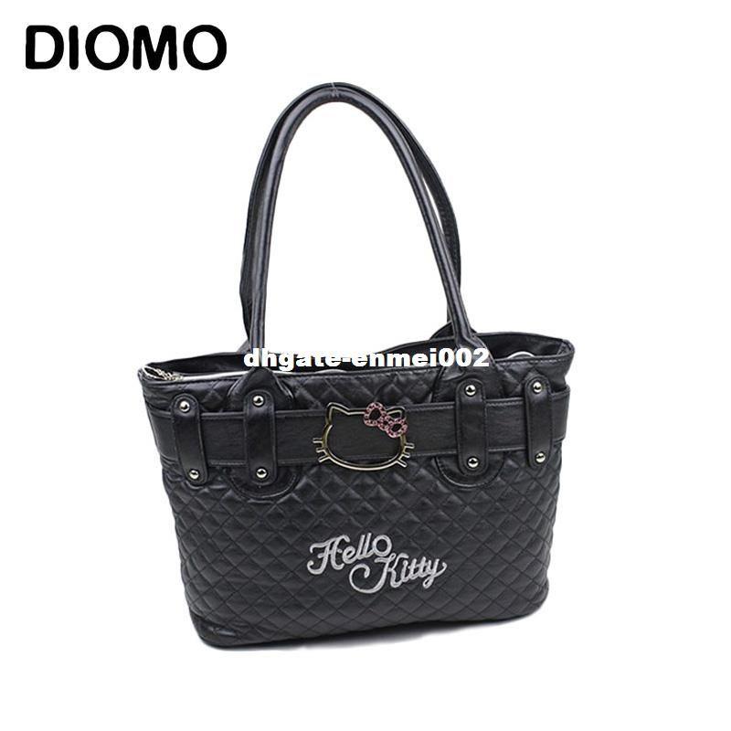 d52af9e219 Dhgate Hello Kitty Bag Women S Handbag Cartoon Tote Bags Quilted Diamond  Lattice Bags Sac Femme Hobo Bags Ladies Handbags From Enmei002