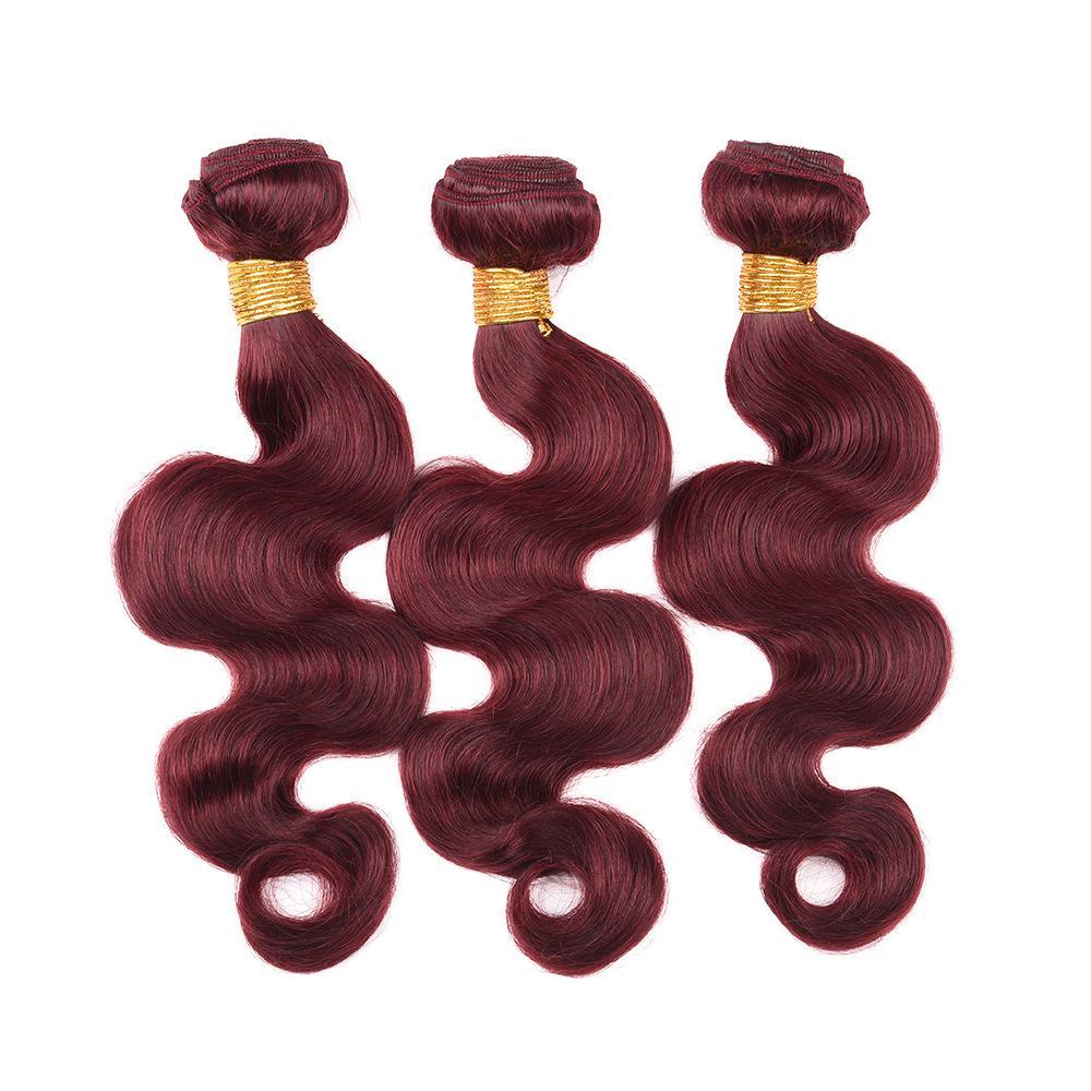 Bundles brasiliani del tessuto dei capelli umani dell'onda del corpo di vendita più venduti / Brasiliano colorato 99 # Borgogna estensioni umane di affari di offerte