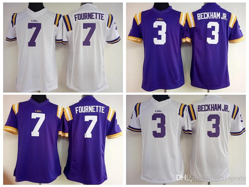 Women LSU Tigers 7 Leonard Fournette 3 Odell Beckham White Purple lady  girls . 06f305c80