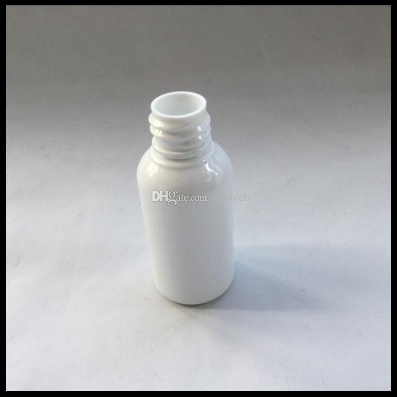 Bottiglie di plastica bianca da 30 ml e bottiglie di liquido con tappo a prova di bambino e bottiglia di vetro con contagocce sigaretta elettronica Ejuice