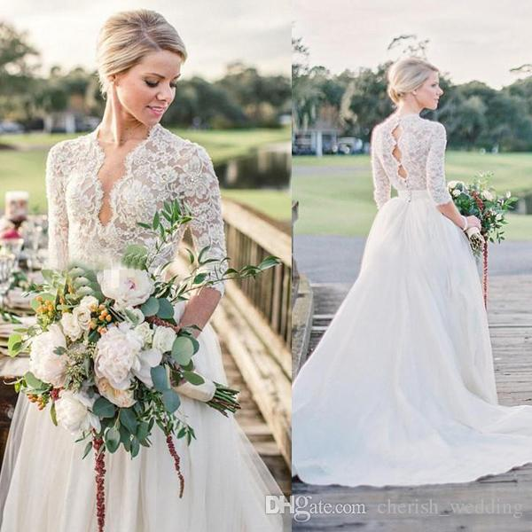 f35916d94 Discount Long Sleeve Country Wedding Dresses A Line V Neck Lace Top Beads Plus  Size Bridal Wedding Gowns With Illusion Bodice Sweep Train Plus Size A Line  ...