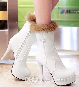 Wholesale New Arrival Hot Sale Specials Super Influx Martin Winter Big Designer Cowgirl Rabbit Hair Diamond Heels Ankle Boots EU34-43