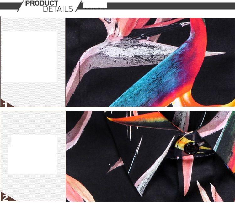 Новая мода мужская полный рукав черный принт цветочные птицы рубашки для мужской одежды плюс размер M-4XL человек Slim Fit рубашка с полным рукавом