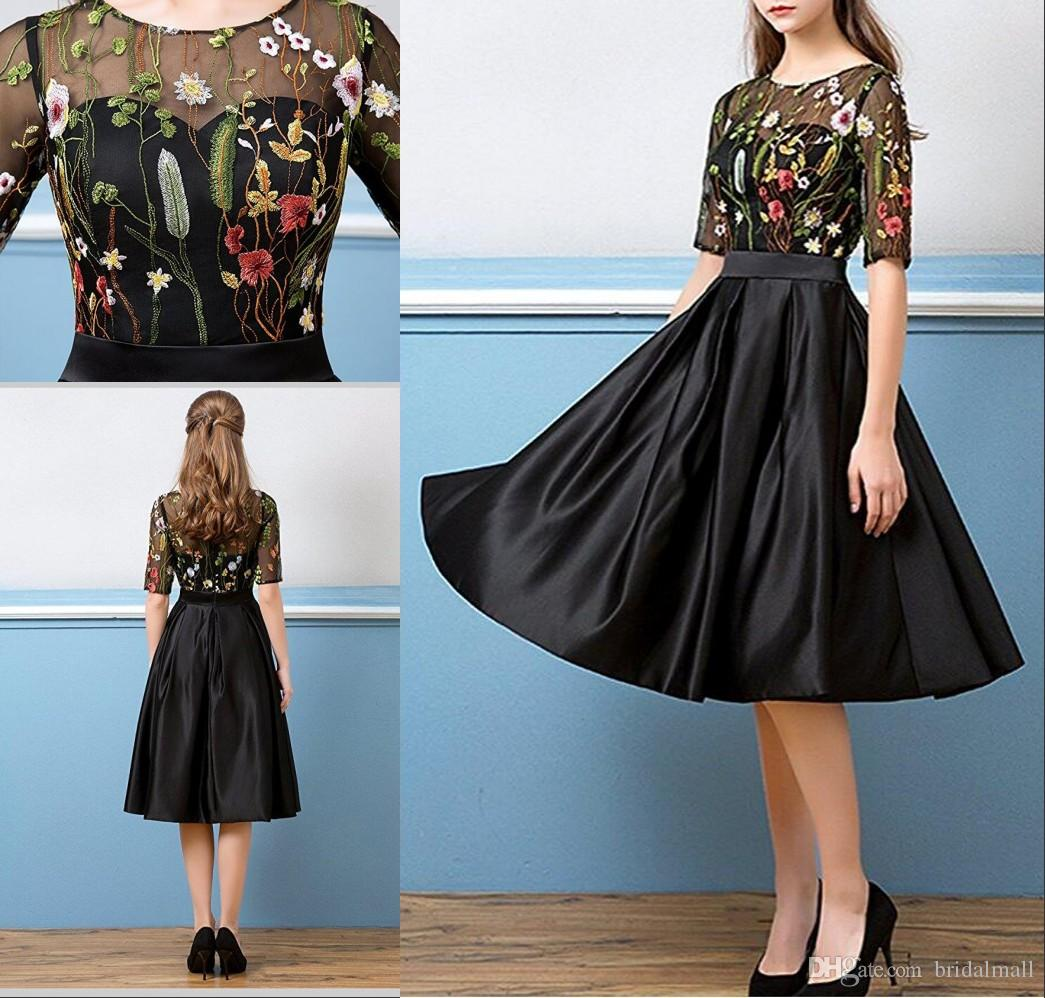Illusion 1/2 Sleeves Floral Embroidery Evening Dresses 2017 Knee ...