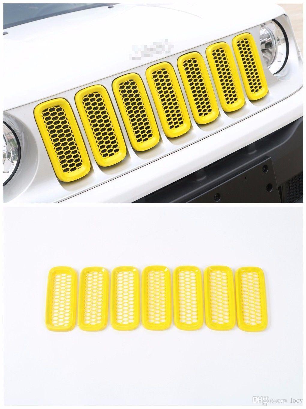 Accessoires de grille d'insertion de grille avant de voiture d'ABS pour Jeep Renegade 2015-2016