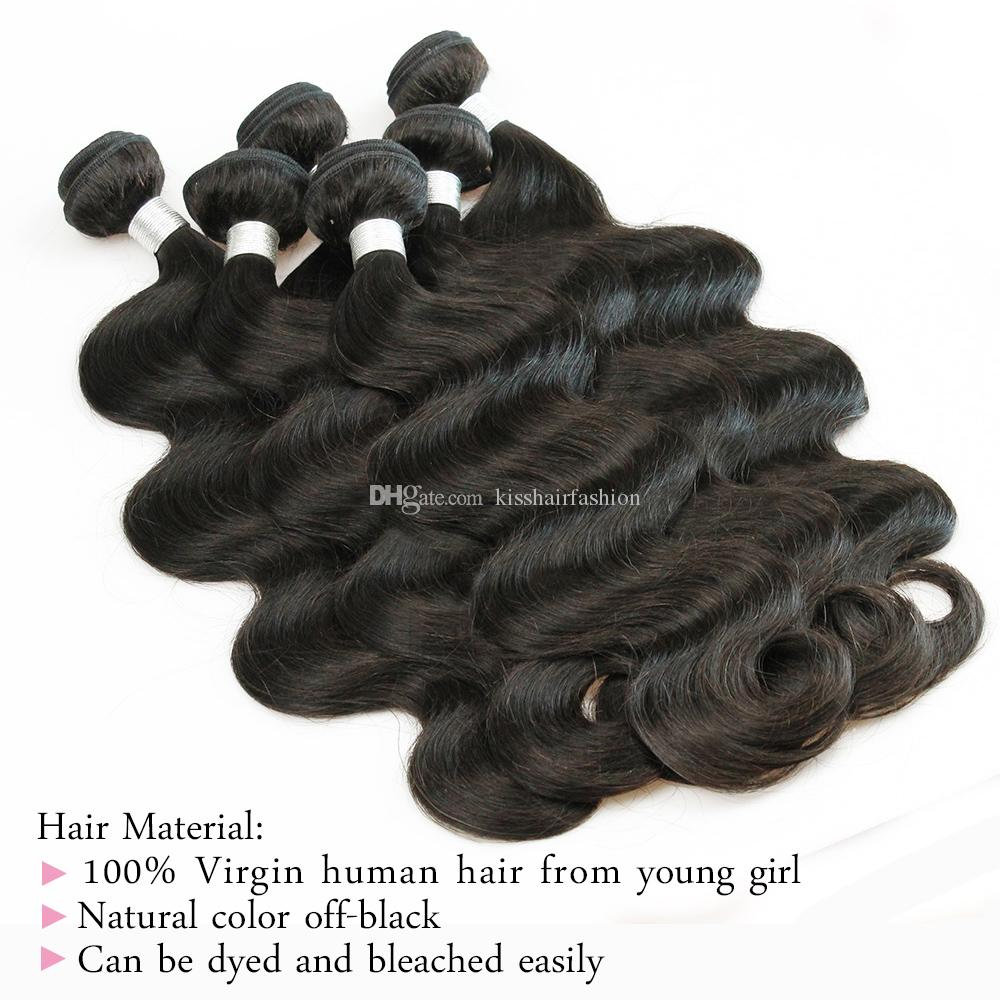 6 Bundles Body Wave Hair Weave Wholesale Brown Natural Sin Procesar Brasileño Peruano Camboyano Malayo Indio Virgen Indio Cabello Humano