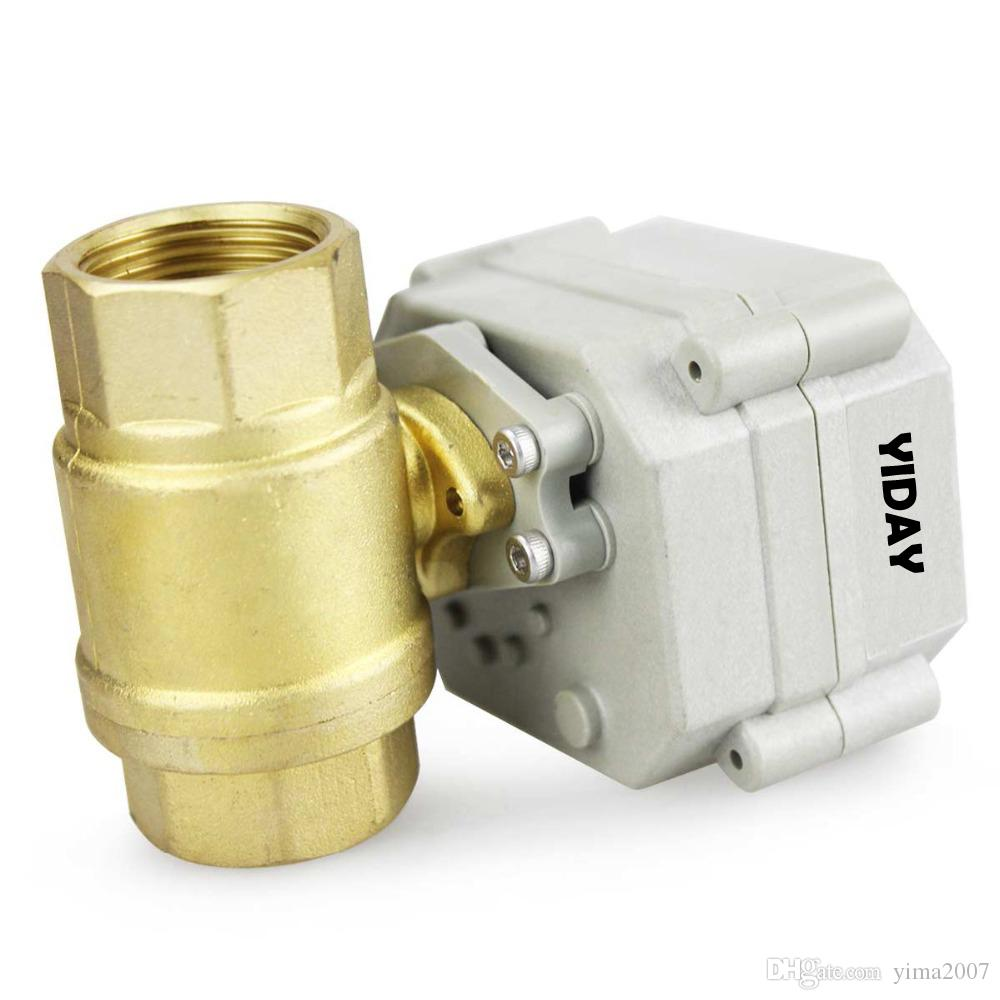 "Wholesele YIDAY 3/4"" DN20 12V/24VDC 2 Way Motorized Ball Valve, Normally Closed/Position FeedBack Brass CR5-02 Electric Ball Valve"
