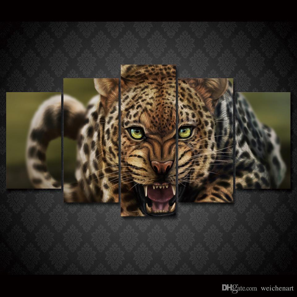 5 Pz / set Incorniciato HD Stampato Leopardo Paesaggio Gruppo Pittura decorazione della stanza manifesto stampa foto su tela Trasporto libero / ny-023