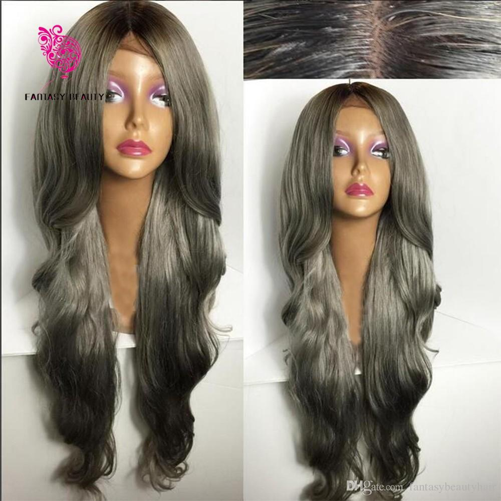 Fashion Ombre Silver Grey Bodywave Lace Front Wig Glueless Long Natural Black/Gray Virgin Human Hair Wigs For fasihion Women
