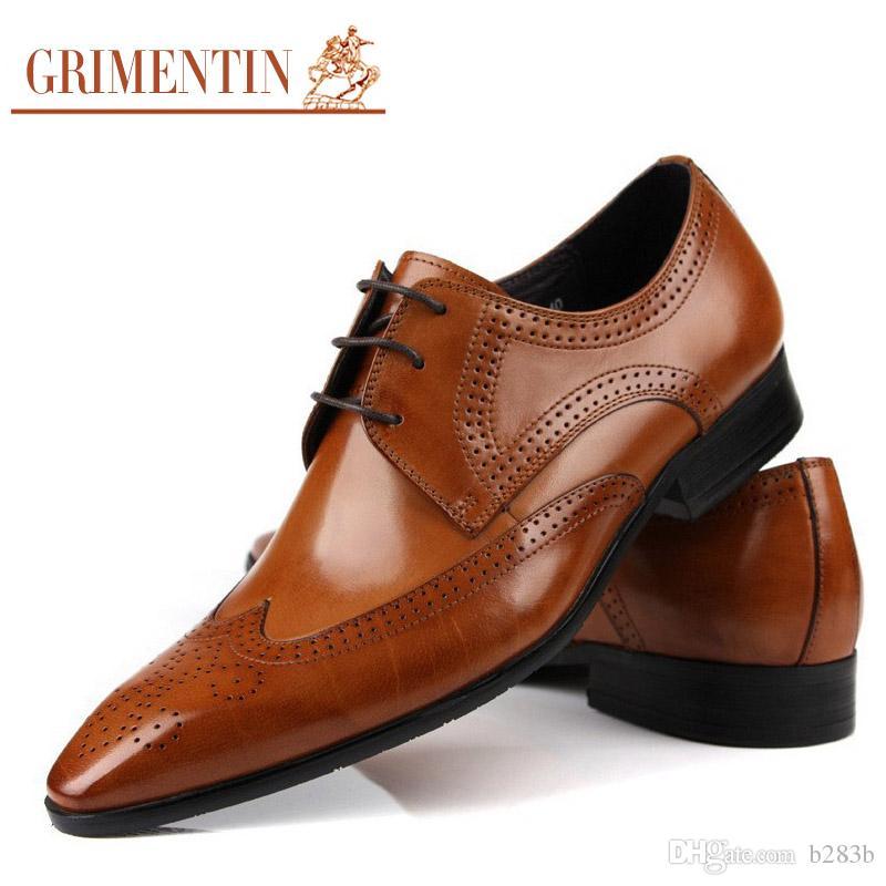 1596eef3f3d Compre GRIMENTIN Venta Caliente Marca Negocios Oxfords Para Hombre Zapatos  De Vestir Cuero Genuino Marrón Negro Marrón Moda Italiana Zapatos  Masculinos 2017 ...