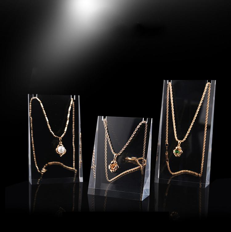 Solid Clear Acrylic Pendant Necklace Earrings Jewelry Display Wedge Stand Holder Rack Cabinet Jewellery Shop Window Counter Case