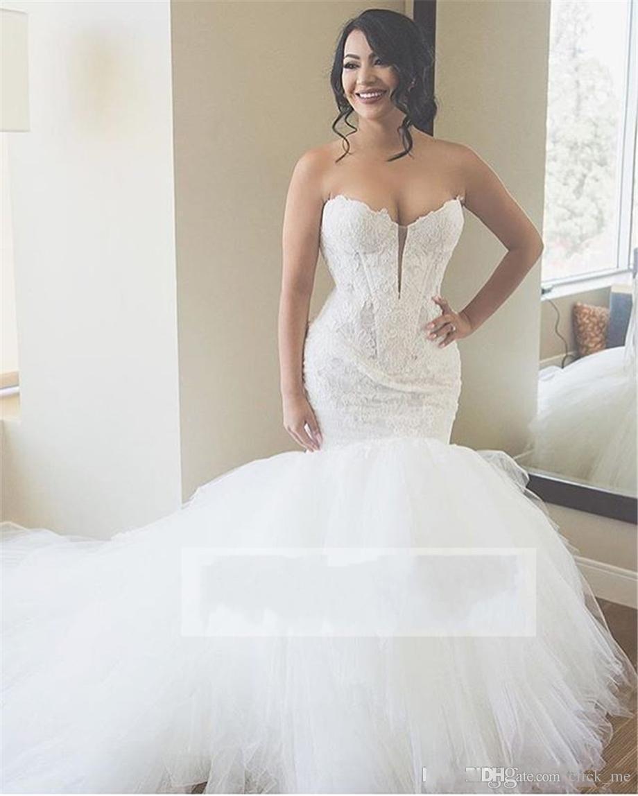 Sexy Sweetheart Mermaid Brautkleider Tiefer Spitze und Tüll Lace Up Back Brautkleid Sweep Zug Plus Size Boho Brautkleider