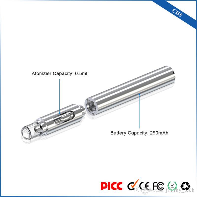 Original ecig kit caneta starter vaporizador CH5 cartucho de bobina de cerâmica vape caneta 510 fio 290 mAh bateria para óleo dhl grosso frete grátis