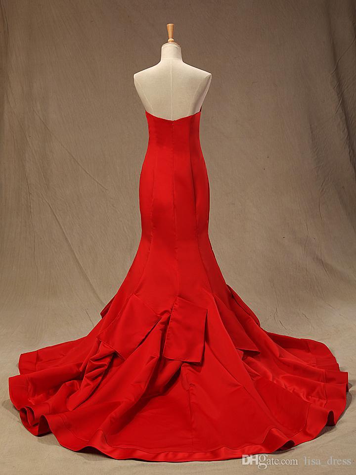 Romantische Sexy Sweetheart Red Langer Nina Dobrev Kleid Oscar Kleider 2017 Sirena senza schienale Celebrity Kleider Robe De Soiree Evening prom