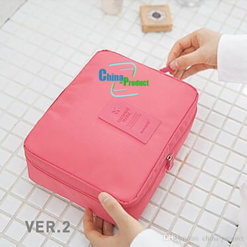 Viagens compõem Cosmetic Bag Caso Mulheres Maquiagem Bag Pendurado Produtos de Higiene Pessoal Kit de Viagem Organizador de Jóias caixa multifuncional
