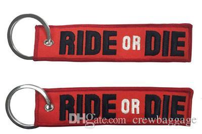 Reiten Sie oder sterben Sie Motorrad-Schlüsselring Ride-Or-Ster Moto Stickerei-Gewebe Keychain 13 x 2.8cm