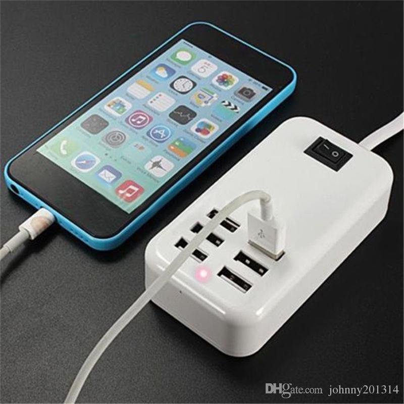 30W 6 Ports USB Desktop Ladegerät 6 Steckdosen AC Netzteil US EU Stecker mit 1,5 m Linie für Smartphone
