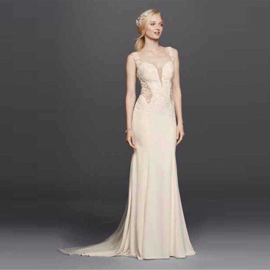 Beaded Lace Wedding Dress Sheer Illusion Back Mermaid Dress ...
