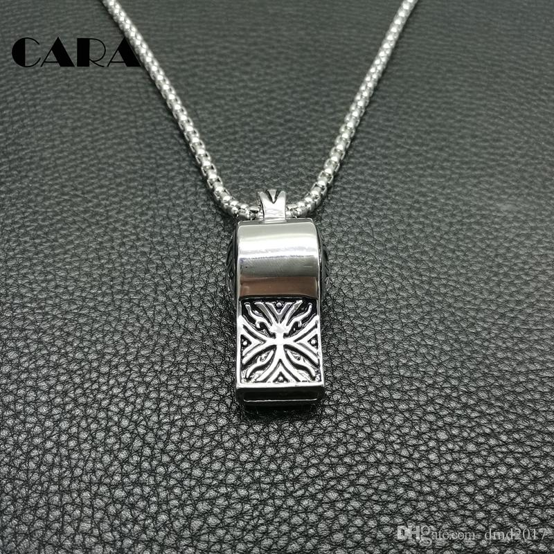Fashion boys necklace 27'' Chain Vintage 316L Stainless Steel Whistle Pendants Necklaces For Men jewelry Necklaces hip hop necklac