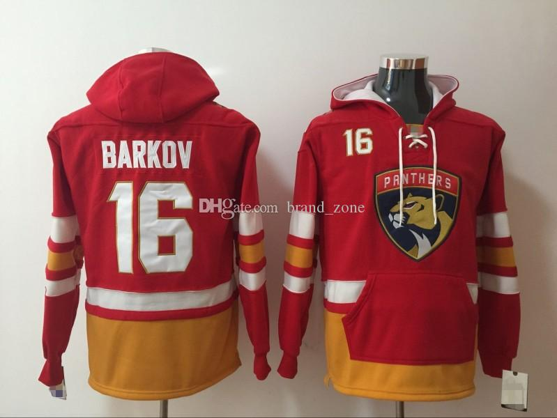 Florida Panthers Hoodies Jerseys # 16 Barkov Hockey Hoody Color rojo con bolsillos cosidos tamaño S-XXXL Old Time Mix ordenar todos Jerseys
