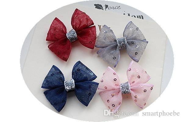 Wholesale 50pcs/lot Fashion Sequin Gauze Hair Bow Baby Girls Hair Clips Solid Cute Glitter Striped Bowknot Girls Hairpins Hair Accessories