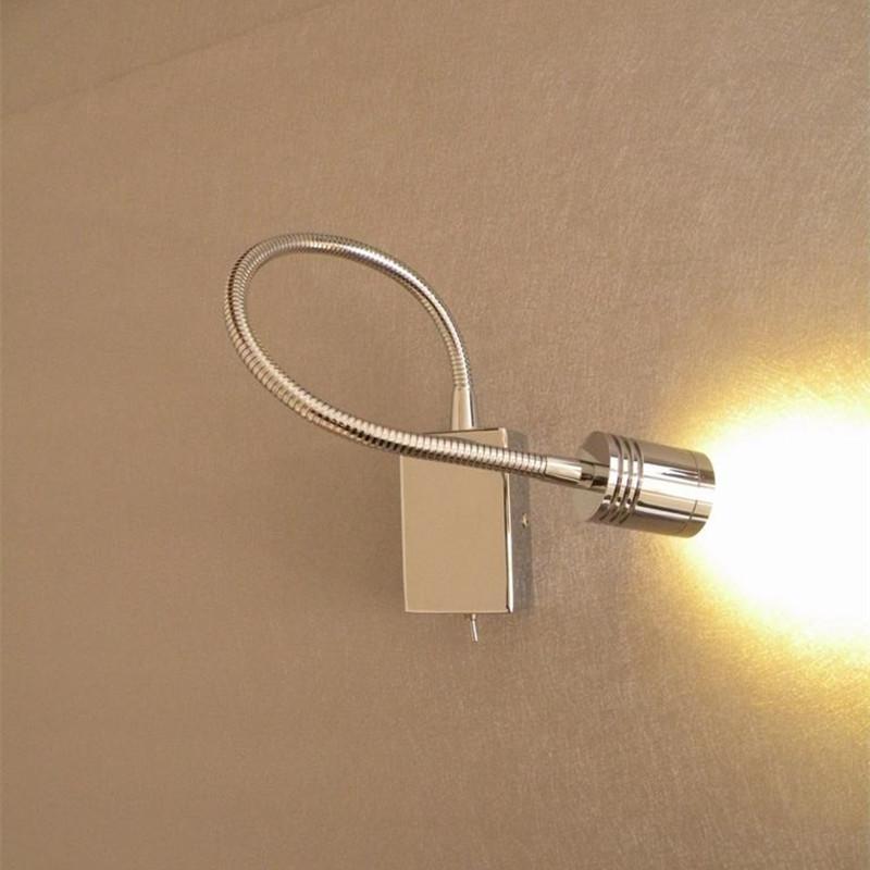 LED Topoch Bed Lamp Wall Mounted acabamento cromado Flexible Arm direcional Spotlight Narrow driver feixe embutido para Casa Camper reboque do barco