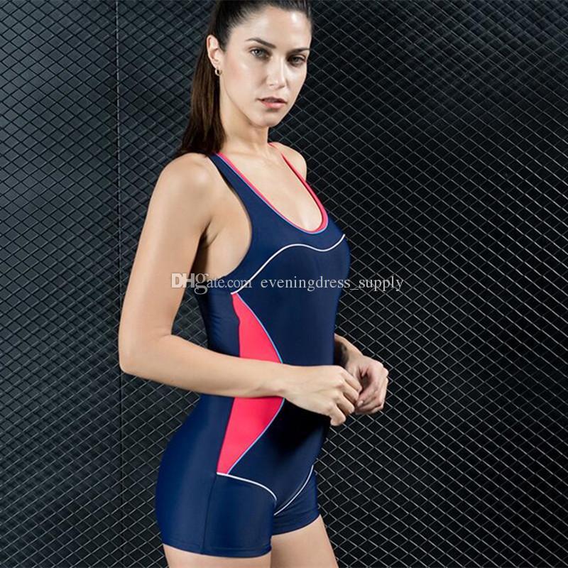 Горячая боксер цельный купальник спорт женщины сексуальный купальник высокой талией купальники горячая весна купальный костюм питания