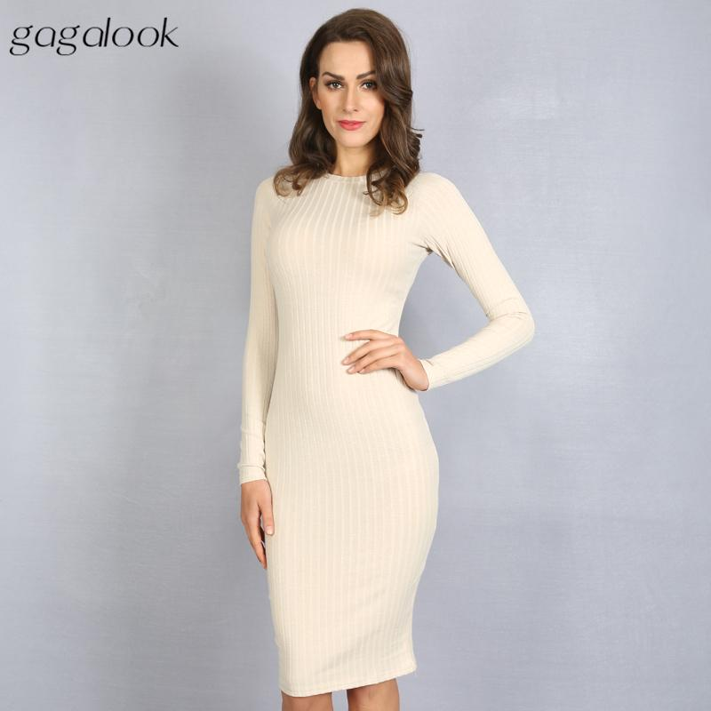 94f46bf51ba0 Gagalook 2016 Brand Women Dress Office Robe Sexy Bodycon Tunic Long Sleeve  Ribbed Black Midi Party Dresses Vestidos D1157 Sweater Dress Sexy Party  Dresses ...