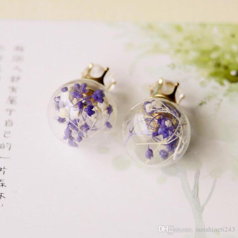 Neue transparente Glasball trockene Blumen Ohrringe 8MM Zirkon Crystal Crown Stud Ohrringe für Frauen Mädchen