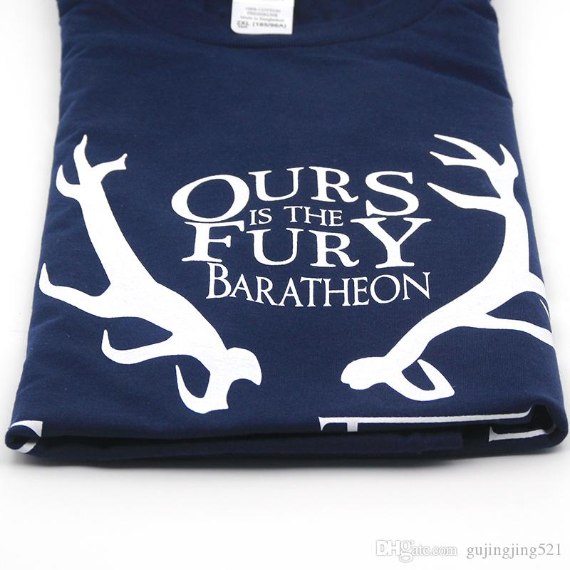 cotton Game of Thrones men tshirt ours is the fury men's tee shirts tops men house baratheon T-shirt casual mens t shirts T01
