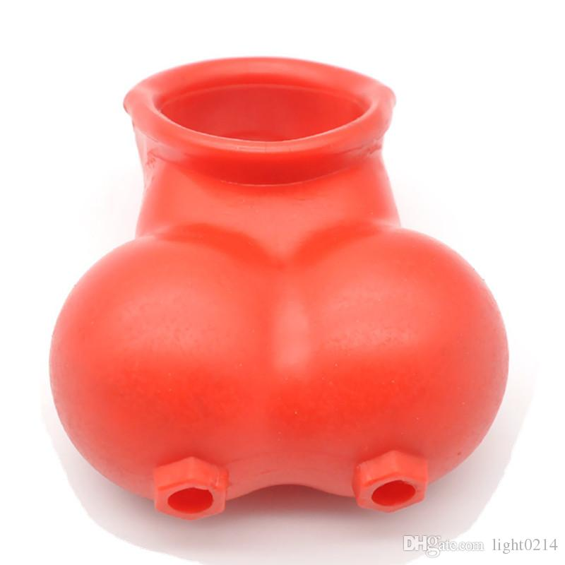 Male Penis Scrotum Squeeze Ring Chastity Cage Men Ball Stretcher Enhancer Sleeve Scrotum Pouch Delay Time Cock Cage Sex Products G7-2-13