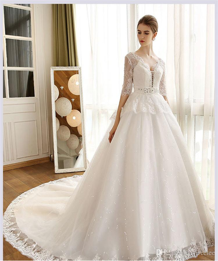 2016 Long Sleeve Lace A-line Wedding Dresses Sweep Train Simple White Gowns Lace Embroidery Vestidos de Novia Beautiful Wedding Dresses