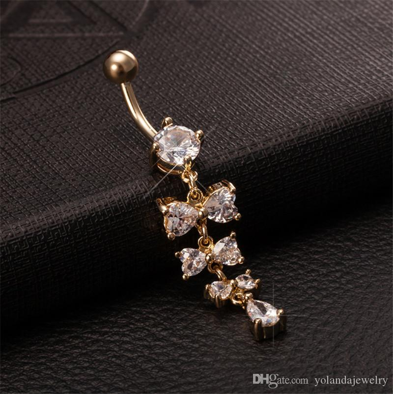 Sweet Navel Rings Shiny Crystal Bowknot Piercing Belly Button Rings For Women Body Piercing 18k Yellow Gold Plated Navel Fashion Jewelry