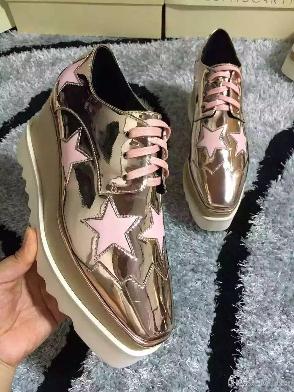 7e2d7cb2947 Stella Mccartney Shoes Rose Gold Genuine Leather Upper With Pink Stars And  White Sole Low Top Stars Shoes Shoe Shops Brown Shoes From Luischen