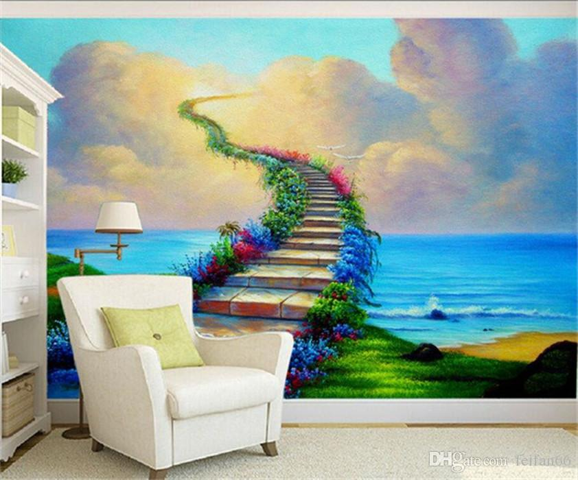 Painted Wall Mural 3d Stereo Tv Background Wallpaper Beautiful