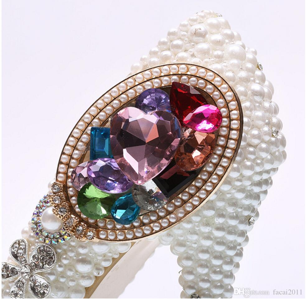 New white pearl shoes colorful gems The stiletto heel shoes